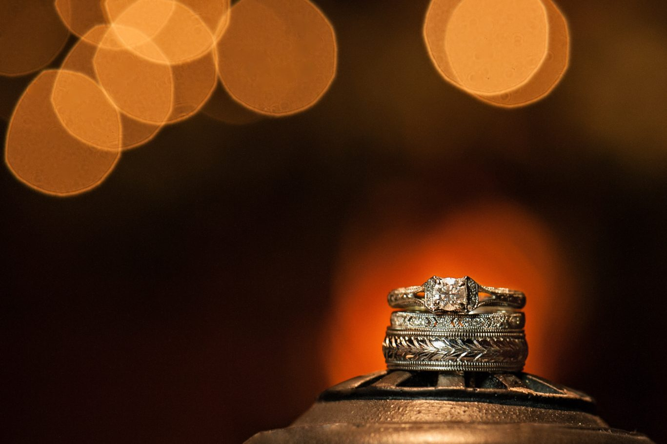 On Old Movie Projector - Unique Wedding Ring Photography